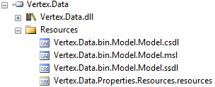 picture of resources with names like Vertex.data.bin.Model.Model.csdl